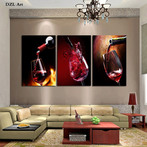 Wine glasses Picture Canvas Printing Painting For Home Decoration 3 Pieces(No Frame) Wall Art