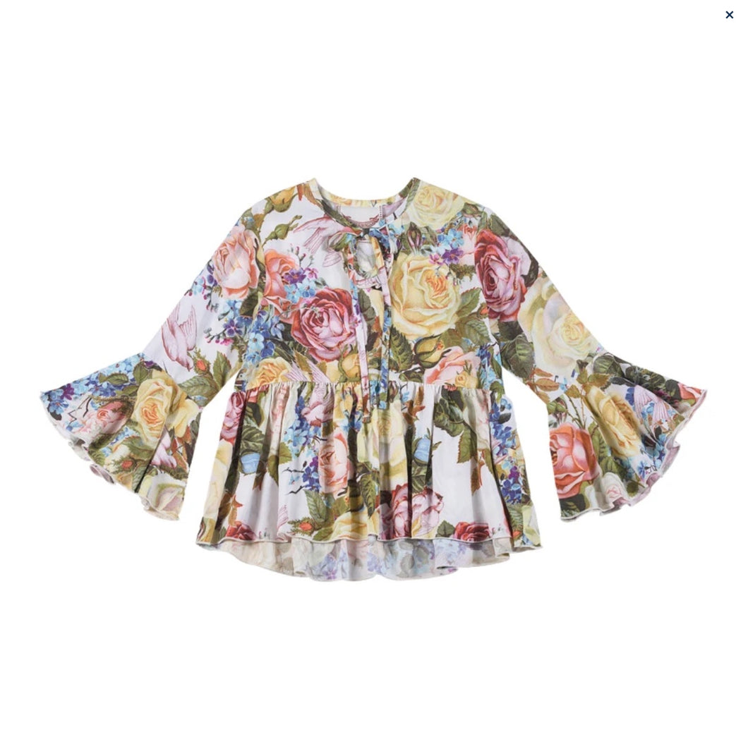 Bell Sleeve Shirt - Winter Roses