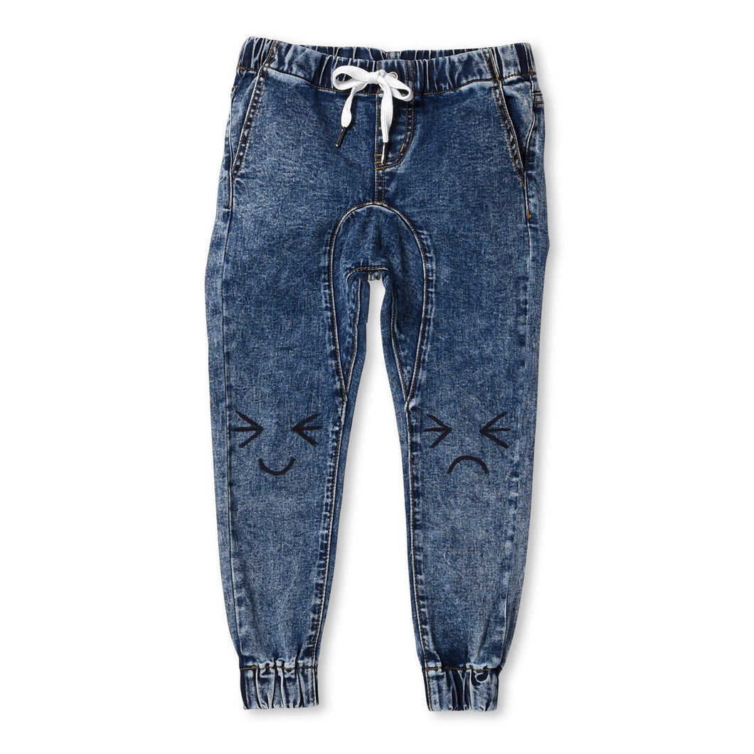 Emoticon Denim Joggers