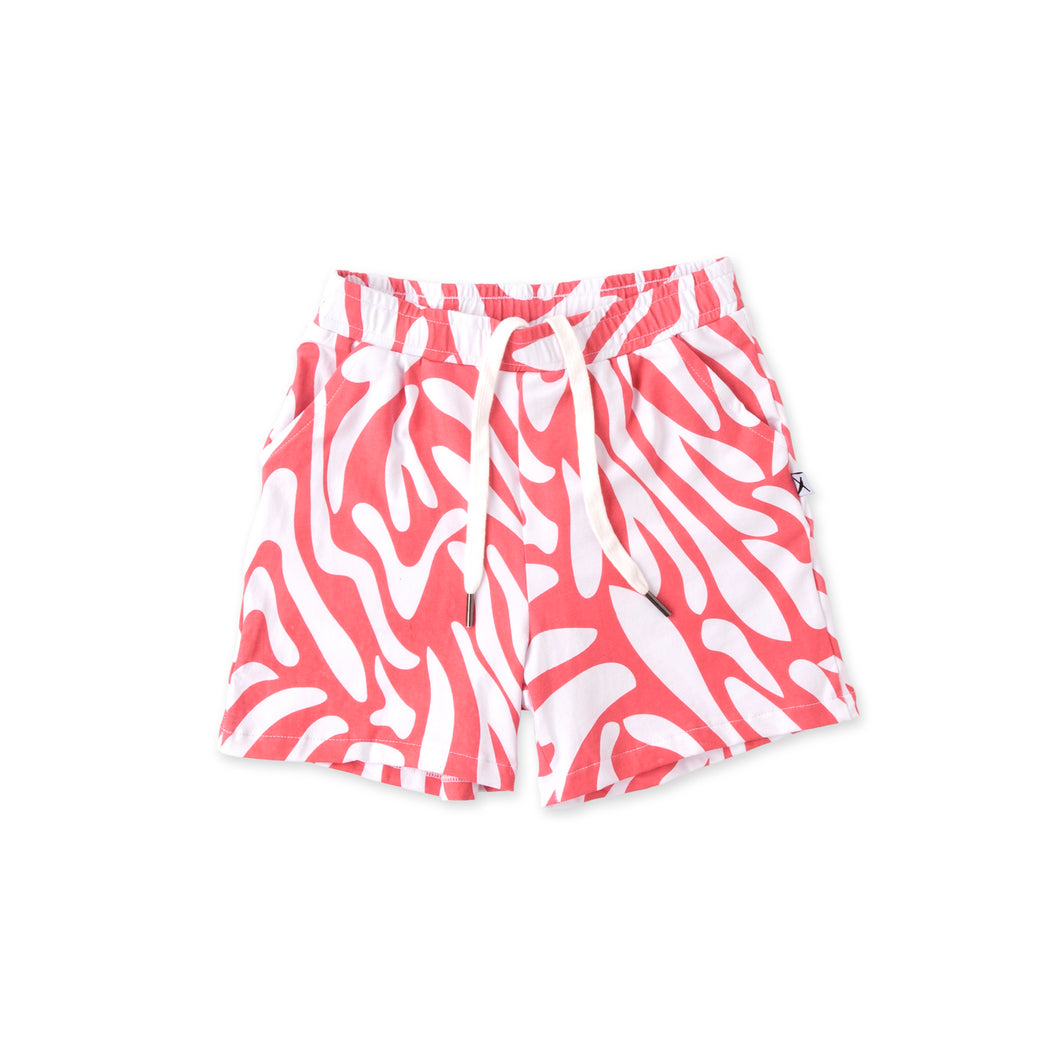 Zebra Striped Shorts - Strawberry Pink