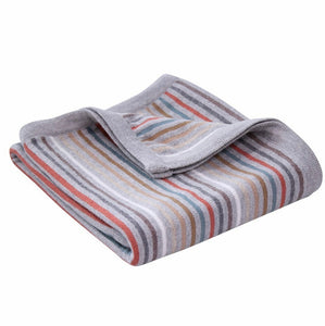 Rainbow Knit Striped Blanket Natural