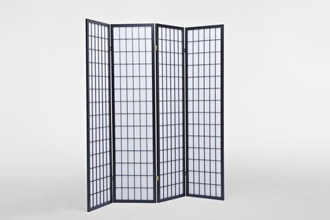 4 Fold Black Wooden Screen