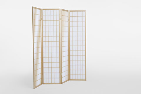 4 Fold Natural Wooden Screen