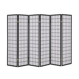 6 Fold Black Wooden Screen