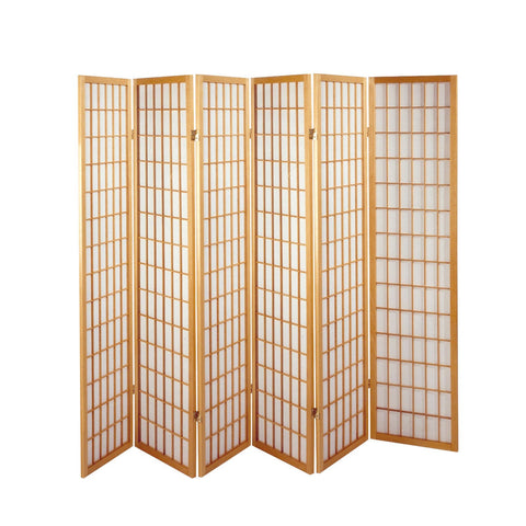 6 Fold Natural Wooden Screen