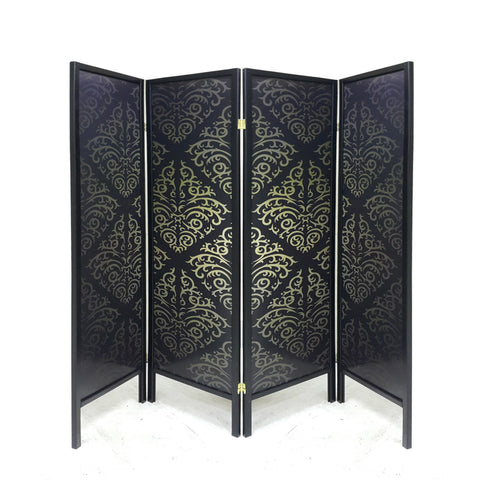4 Fold Black Patterned Panel Screen - Sofa Culture