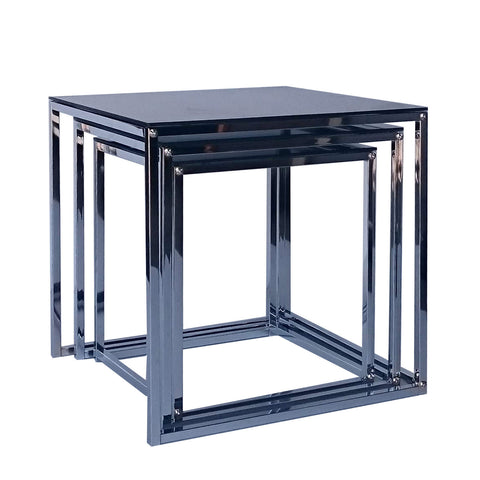 Zoie Metal Tube Black Glass Top Nesting Table Set