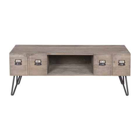 Reclaimed Pine Industrial TV Cabinet With 2 Drawers - Sofa Culture
