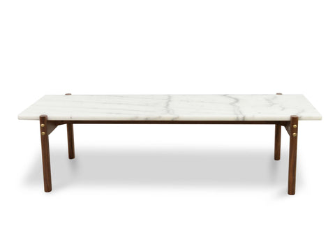 Sticotti Marble Coffee Table - Walnut Legs