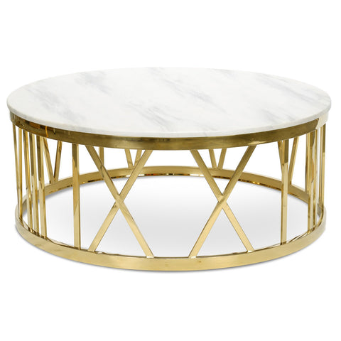 White Marble Stone Coffee Table - Golden Frame Table