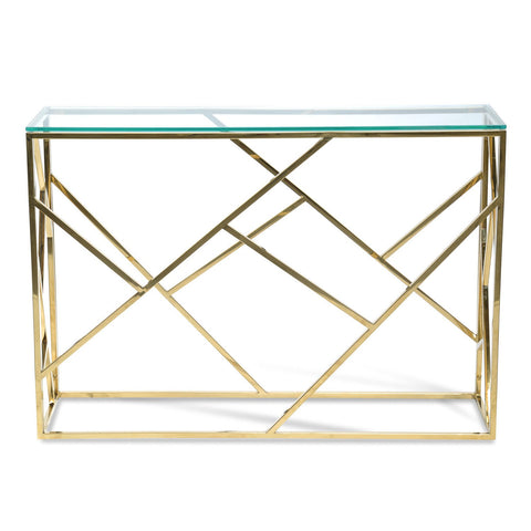 Glass Top Console Table - Golden - Sofa Culture