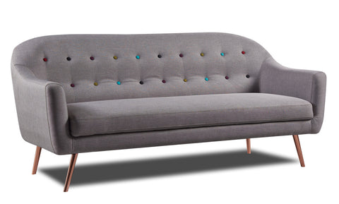 Harper 3 Seater Sofa Light Grey Metal Leg - Sofa Culture