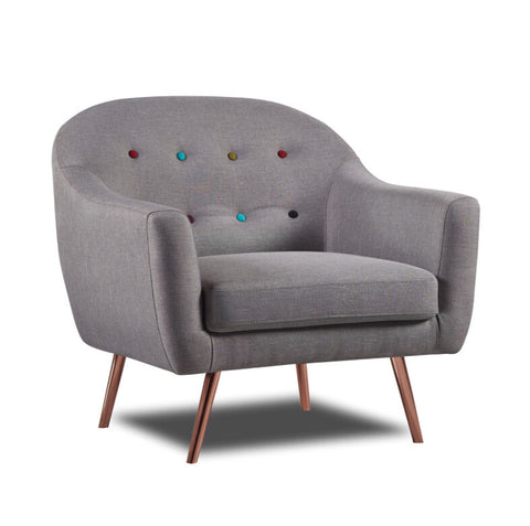 Harper 1 Seater Sofa Light Grey Metal Leg