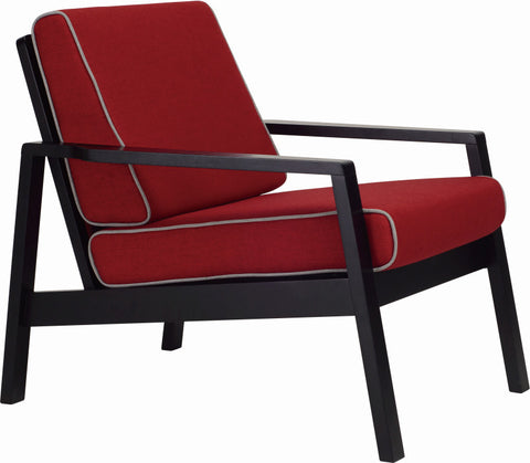 Latio Lounge Chair Black/Crimson - Sofa Culture