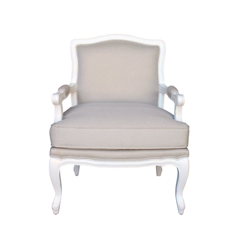 Classic French White Distressed Versaille Armchair