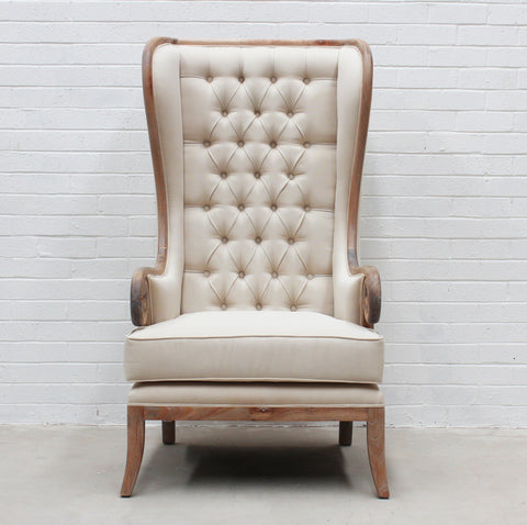 French Provincial Weathered Oak Tall Wing Chair