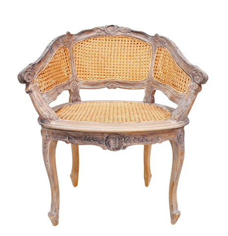 Marcella Bergere Style Weathered Oak Arm Chair