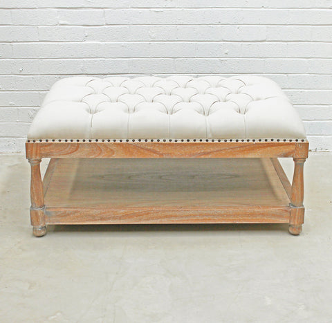 Upholstered Ottoman White and Oak