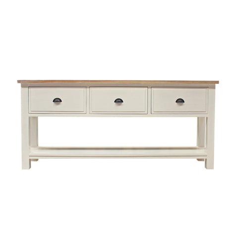 White Distressed French Provinicial 3 Console Drawer