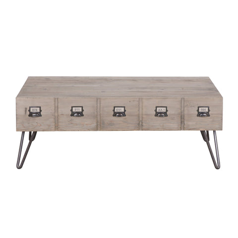Reclaimed Pine Industrial Coffee Table With Drawers - Sofa Culture