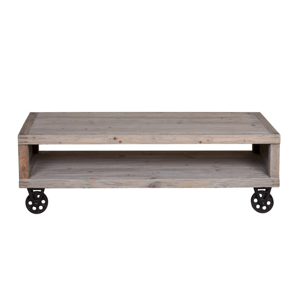 Reclaimed Pine Industrial Cart Coffee Table - Sofa Culture
