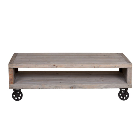 Reclaimed Pine Industrial Cart Coffee Table