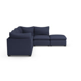 Evans 5-Piece Corner Sectional - Blue Print Plush Velvet