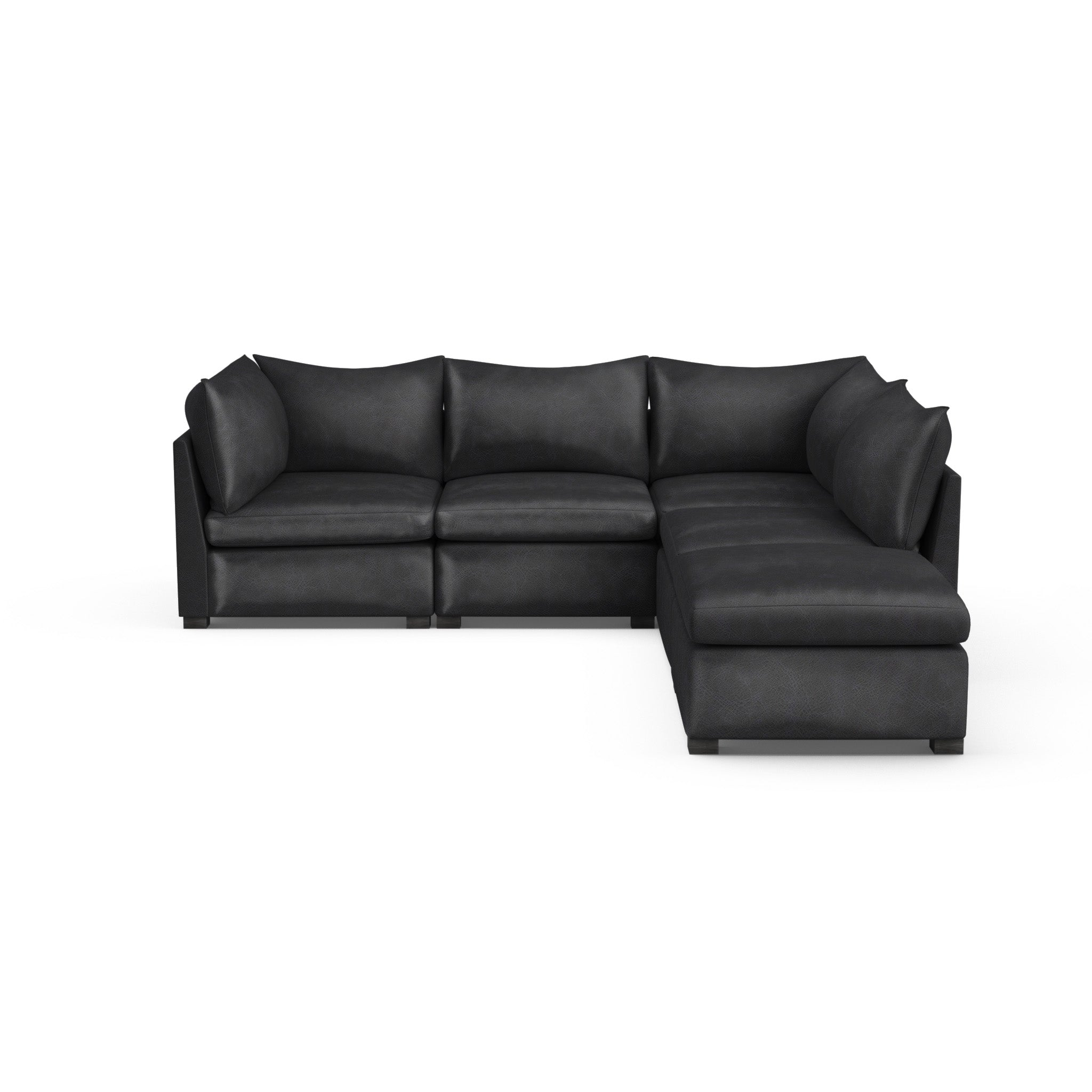 Evans 5-Piece Corner Sectional - Black Jack Vintage Leather