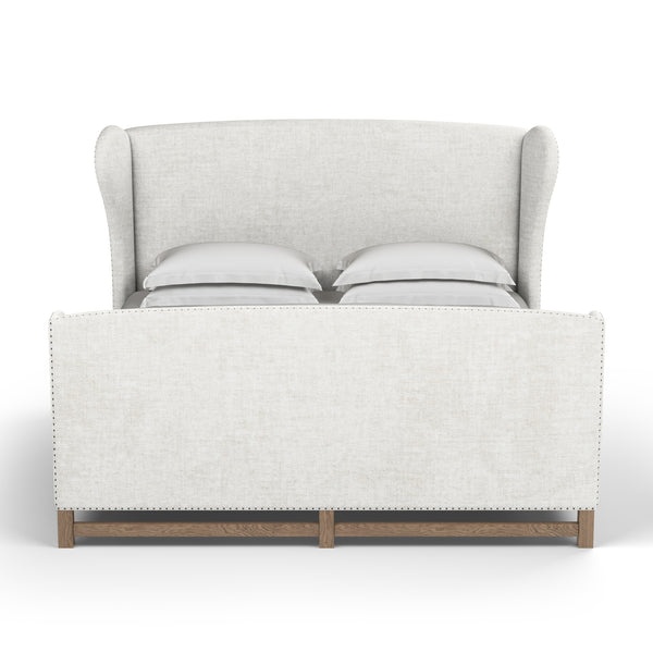 Herbert Wingback Bed With Footboard - Alabaster Crushed Velvet