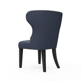Nina Dining Chair - Blue Print Box Weave Linen