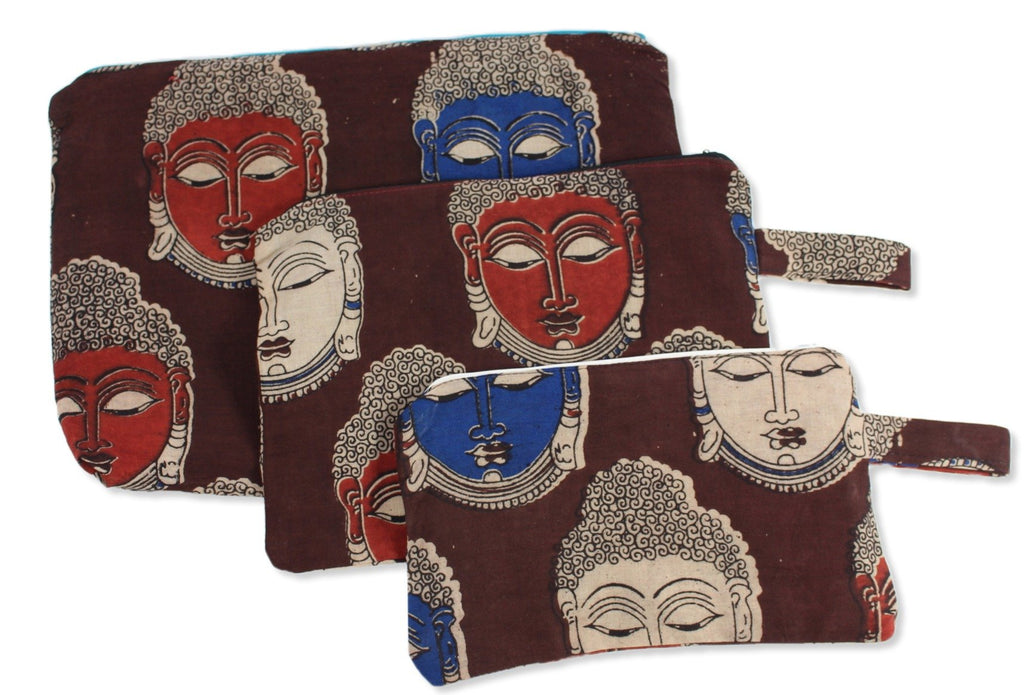 Claret Budha Set of Three Cosmetic Pouches Small