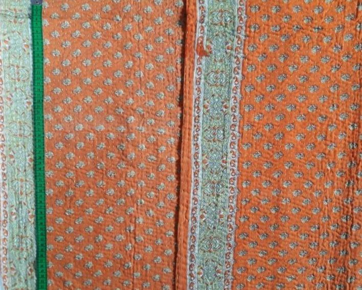 Orange juice Kantha Blanket (single)