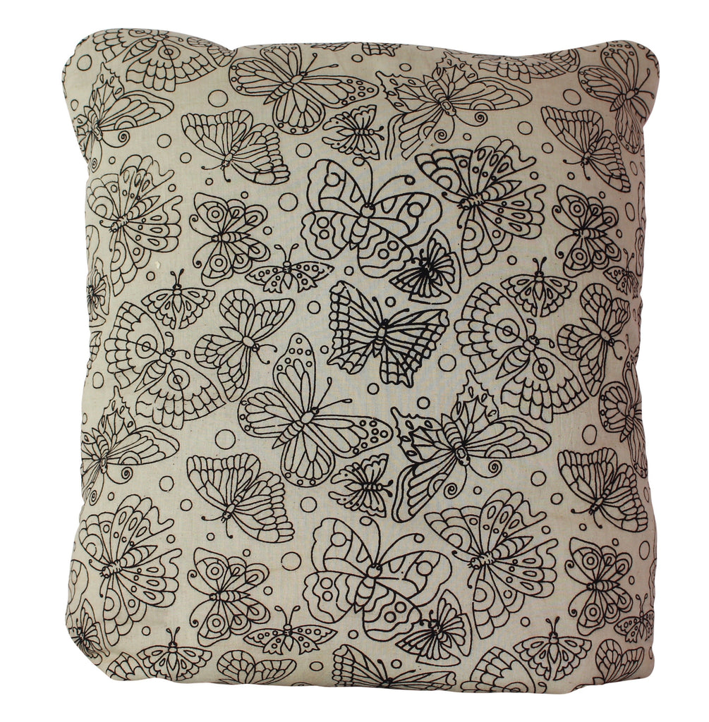 Butterflies Secret Pillow in Black