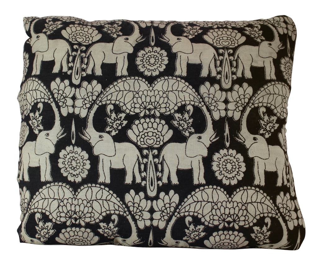 Elephants in Festival Secret Pillow in Black
