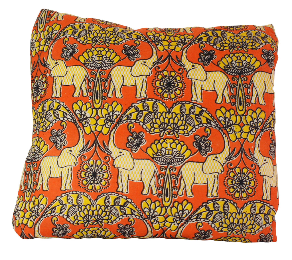 Elephants in Festival Secret Pillow in Burnt Orange