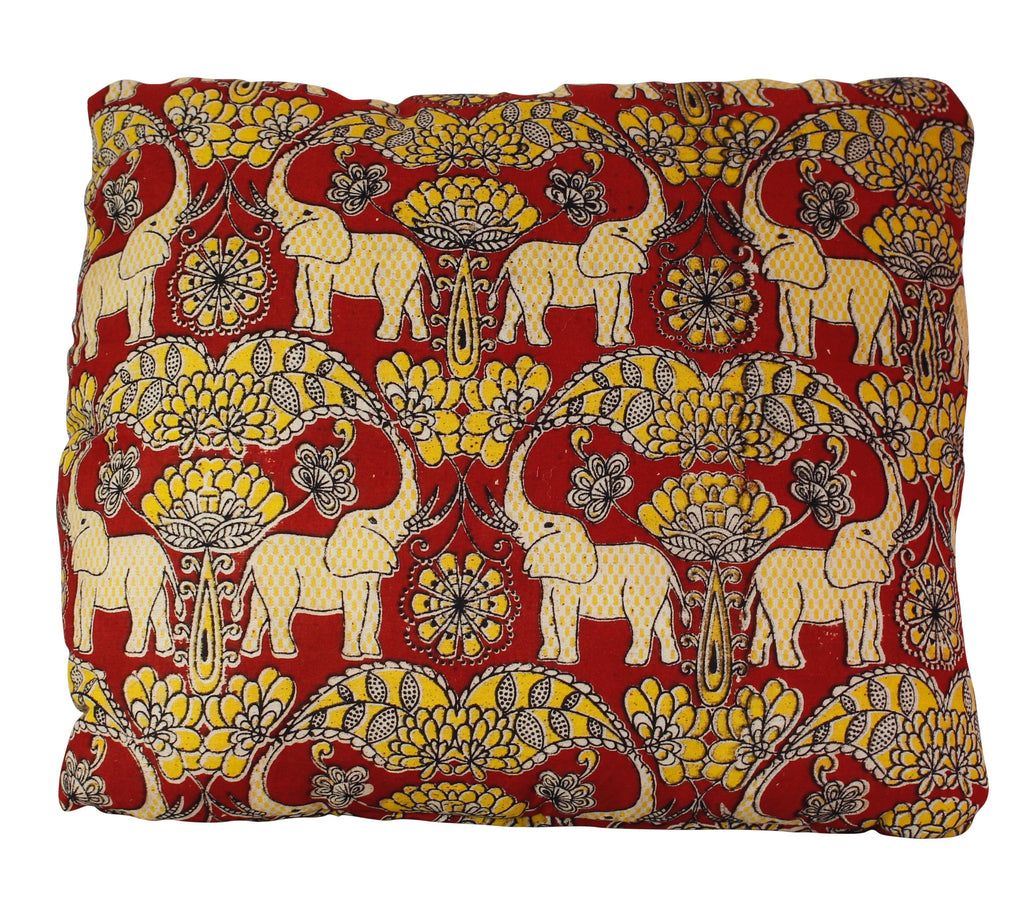 Elephants in Festival Secret Pillow in Claret