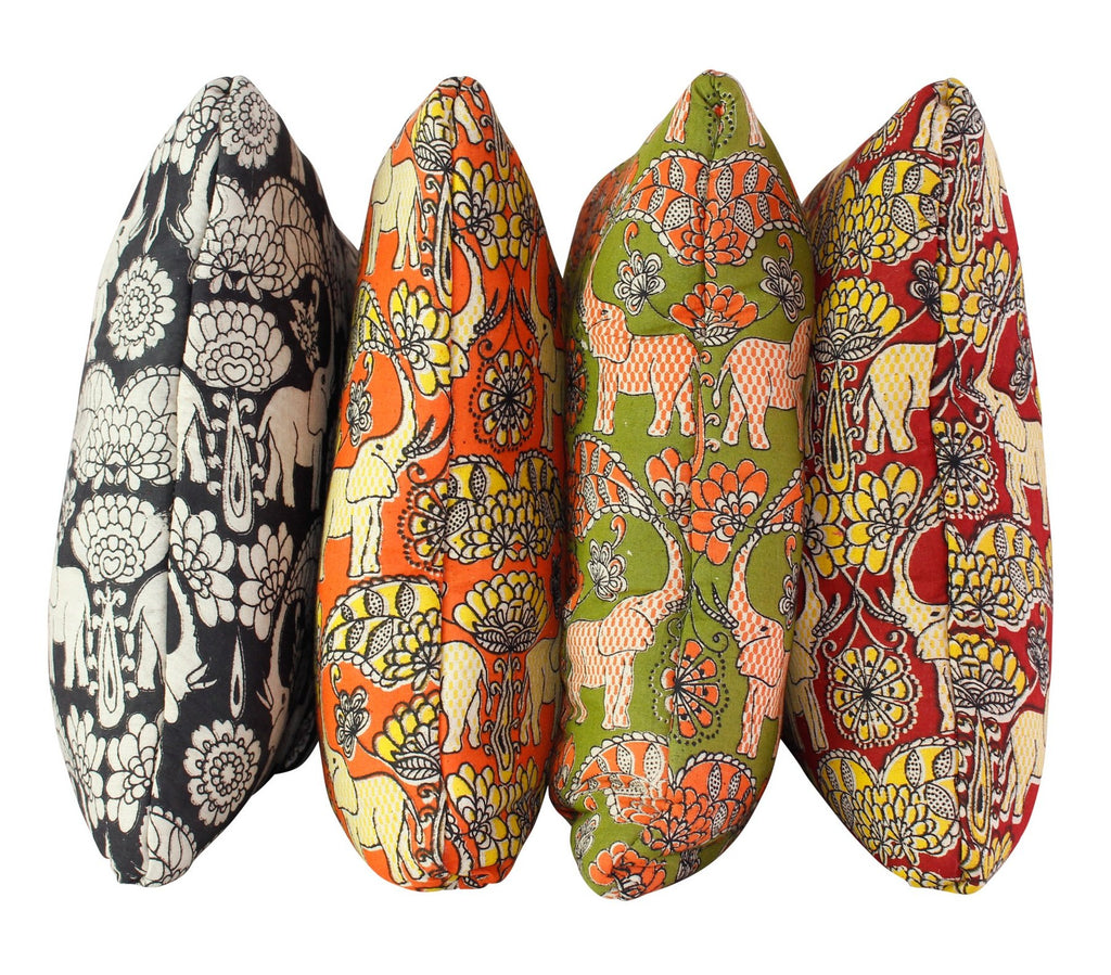 Elephants in Festival Avocado Secret Pillow
