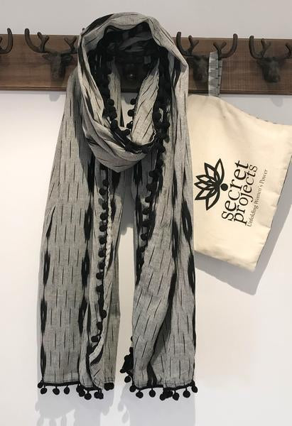 Secret Scarf, Ikkat black & grey with black pom-poms