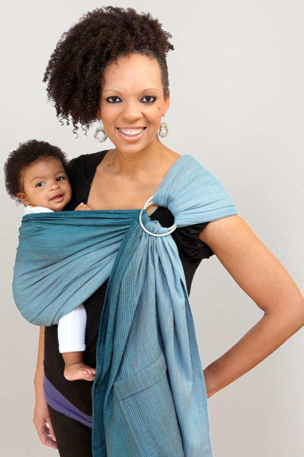 Maya Wrap Teal Ombré Lightly Padded Ring Sling