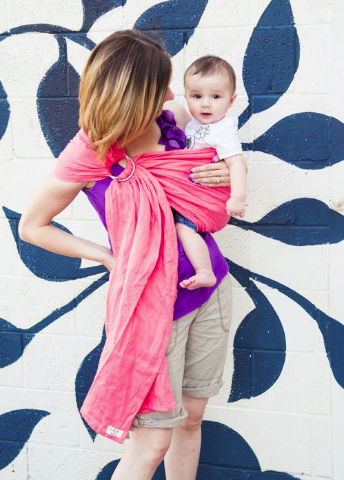 Grapefruit Pink Linen Ring Sling