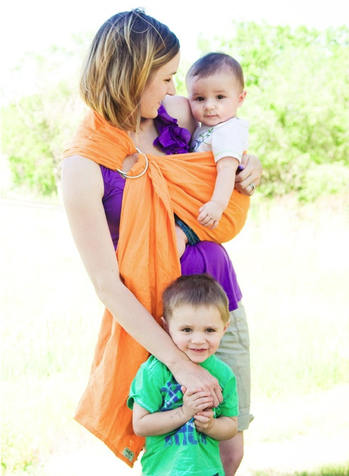 Citrus Orange Linen Ring Sling