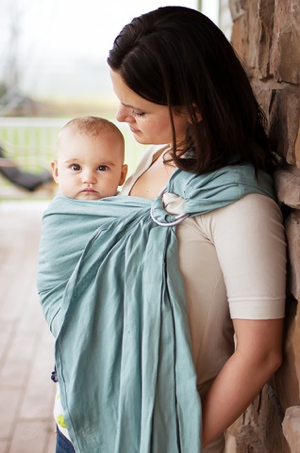 Icy Blue Linen Ring Sling