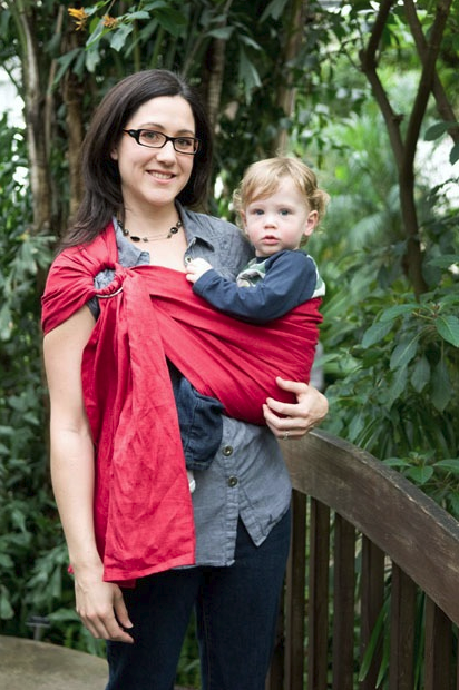 Scarlet Red Linen Ring Sling