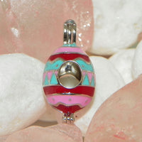 Easter Egg w/ Pink, Blue, & Red Pearl Cage - Sterling Silver #197
