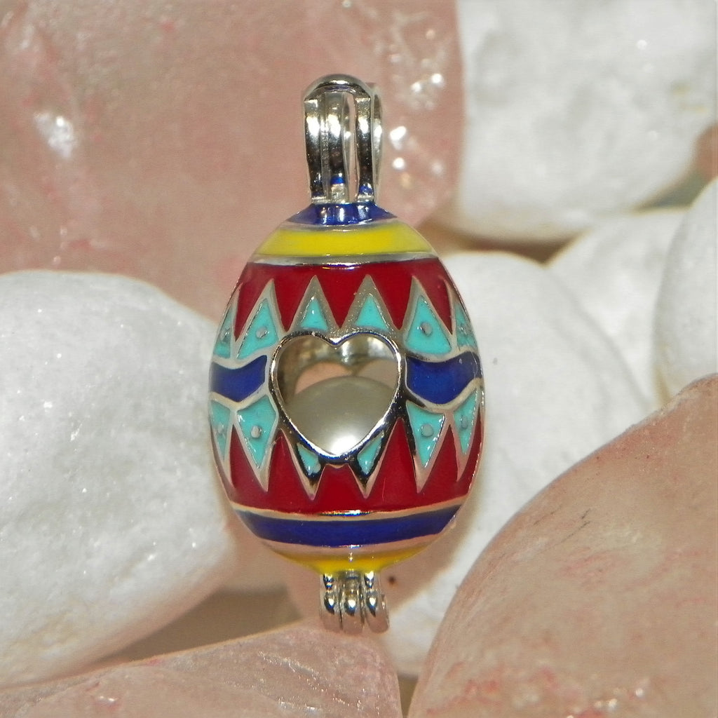 Easter Egg w/ Yellow, Blue, & Red Pearl Cage - Sterling Silver #238