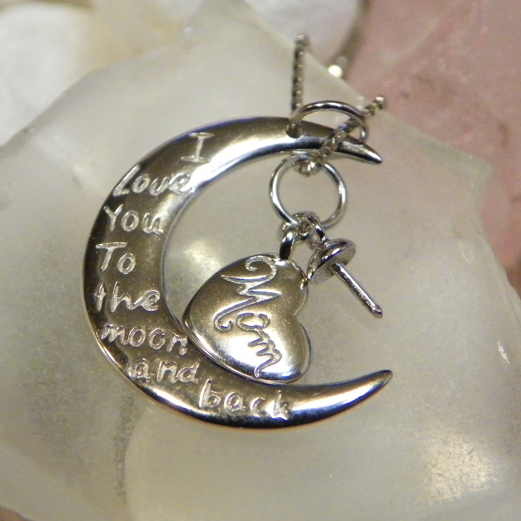 Moon and Back Mom in Sterling Silver - FREE pearl mounting! #842