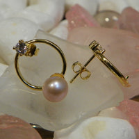 Hoops with CZ's  in Sterling Silver Plated with Gold - FREE Pearl Mounting! - #860