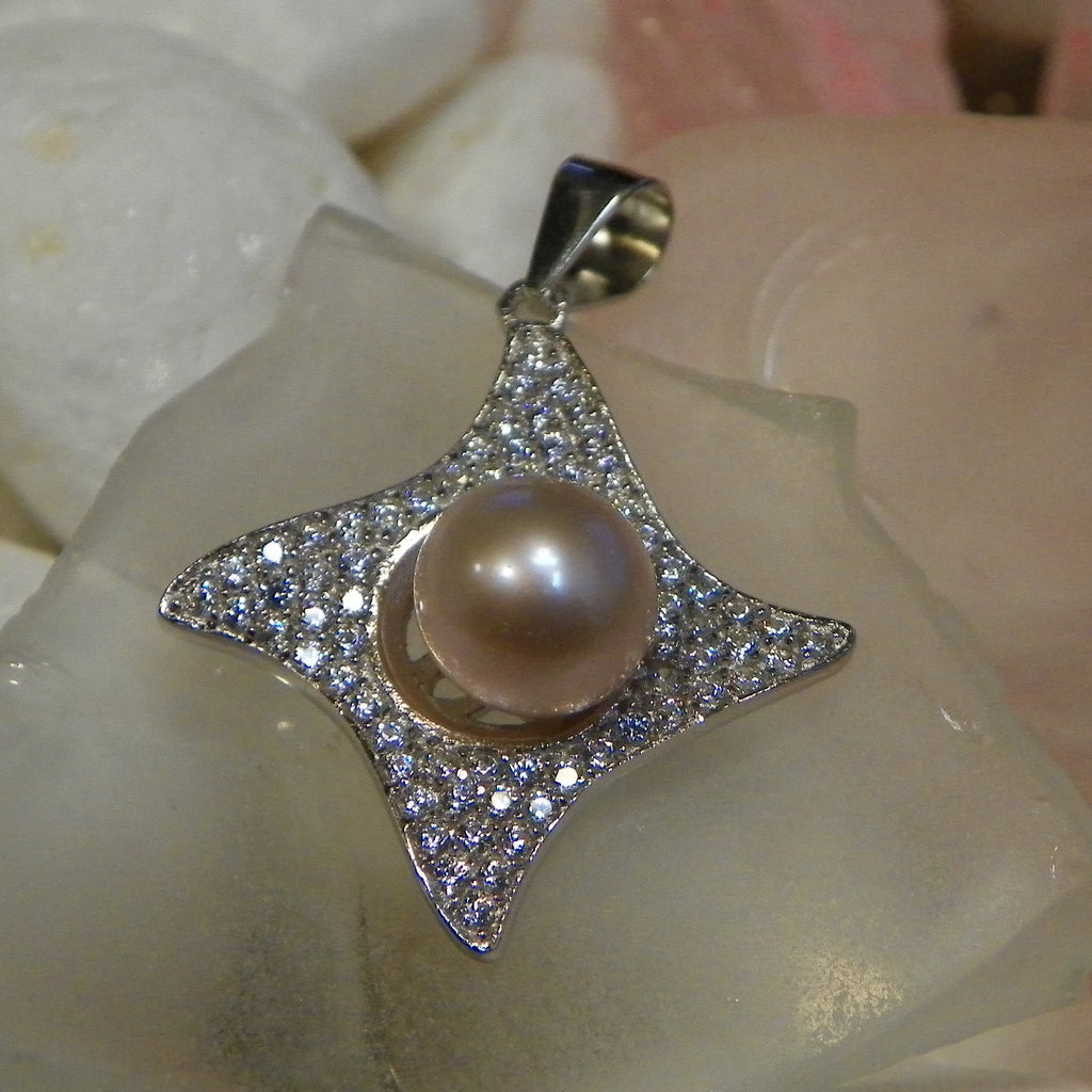 Pendant - CZ Crazy Diamond Pendant in Sterling Silver - FREE pearl mounting! #834