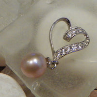 Heart Sliding Pendant in Sterling Silver - FREE pearl mounting! - #838