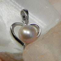 Pendant - Simple Heart Pendant in Sterling Silver - FREE pearl mounting! #847